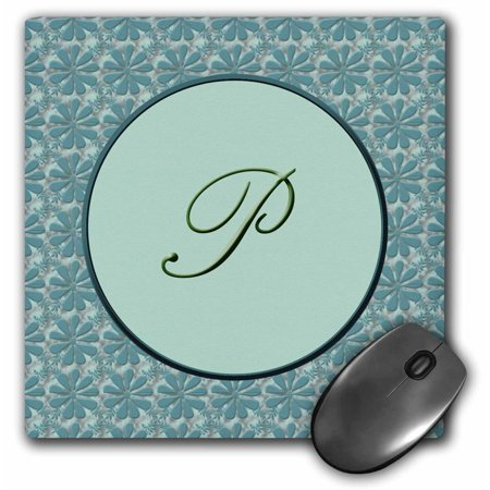 3dRose Elegant letter P in a round frame surrounded by a floral pattern all in teal green monotones, Mouse Pad, 8 by 8 inches Double Face Green Letter