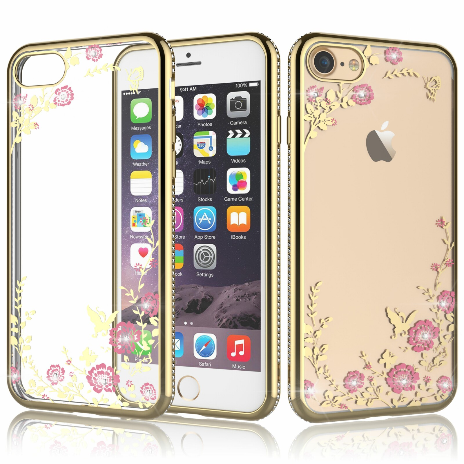 "iPhone 8 Case, iPhone 7 Clear Case, iPhone 7 Cover, Tekcoo [Tflower] Ultra Thin TPU Soft Case Artificial Rhinestone Diamond Cover For Apple iPhone 7 / iPhone 8 4.7"" -Champagne Gold"