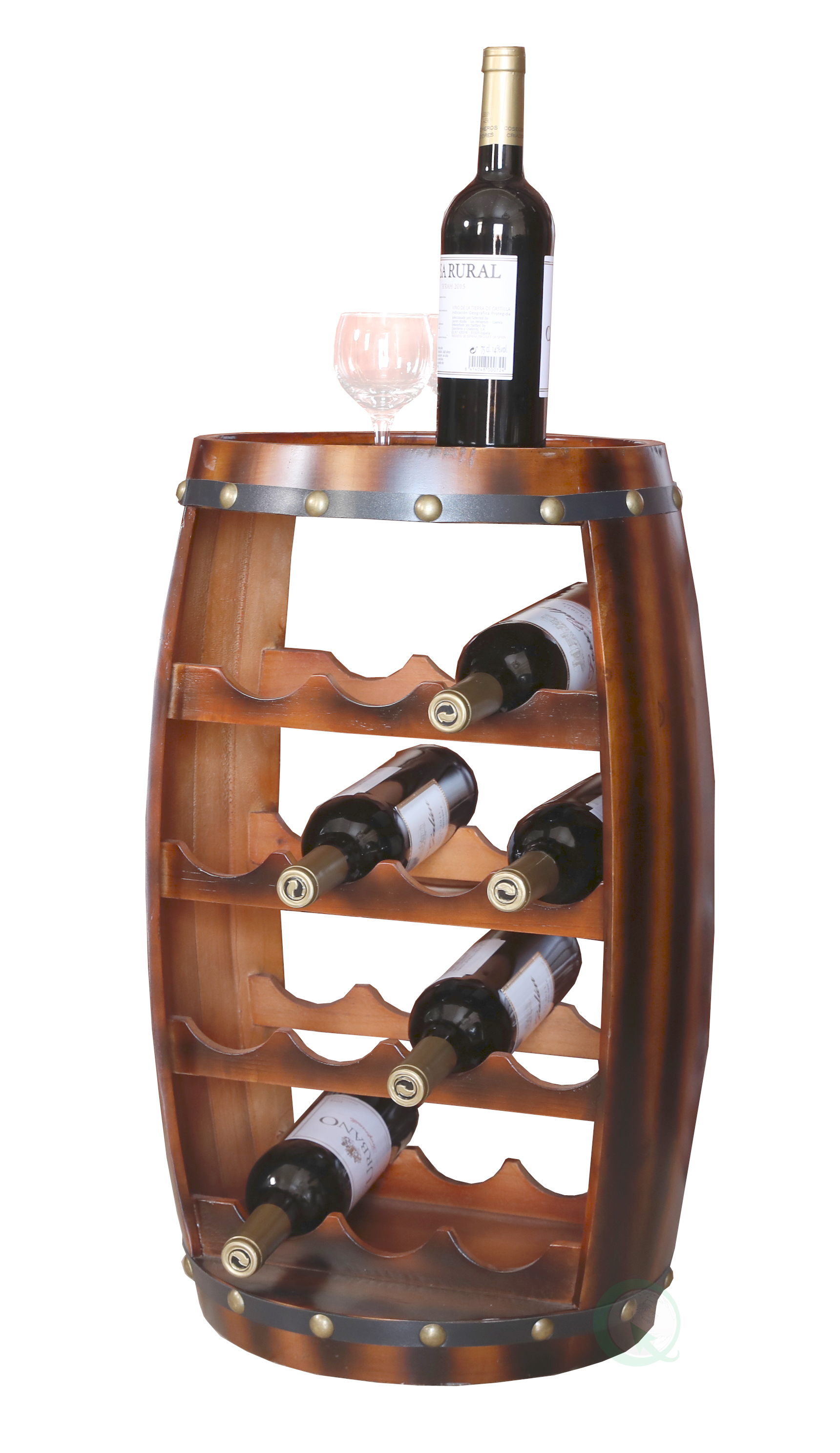 Wooden Barrel Shaped 14 Bottle Wine Rack by Quickway Imports Inc