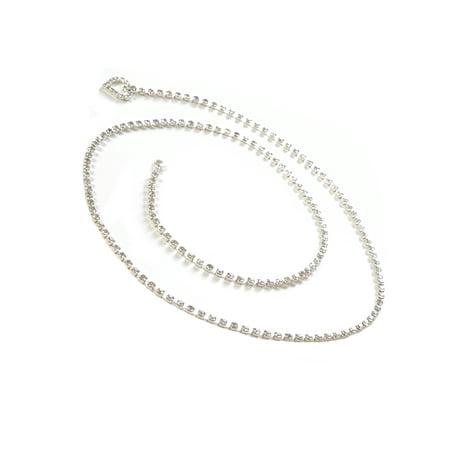 Heart Shaped Swarovski Crystal - Silver Crystal Chain Belt with Heart Shape Rhinestones End 39 inch long