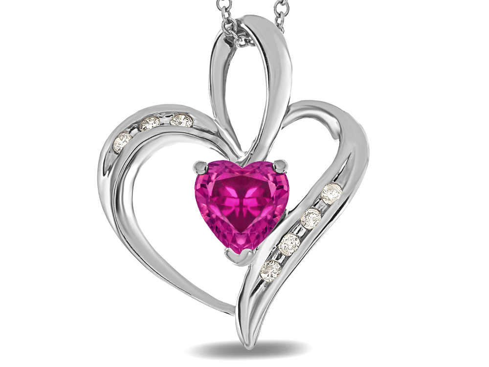 Star K Heart Shape 6mm Simulated Pink Tourmaline Pendant Necklace in 10 kt White Gold by