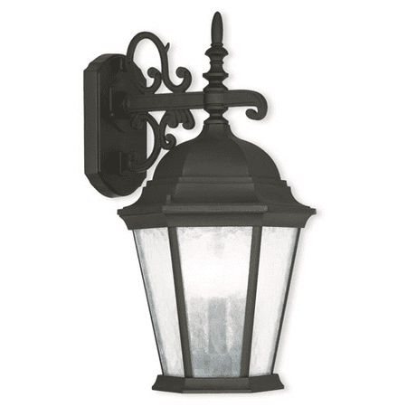 Wall Sconces 3 Light With Cast Aluminum Clear Water Glass Textured Black Finish size 19 in 180 Watts - World of Crystal