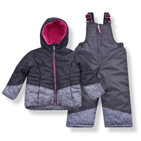 Arctic Quest Girl's Heather Jet Puffer Jacket and Bib Snowsuit Set - Size 2T, Dark Grey Ski Snowboard Suit