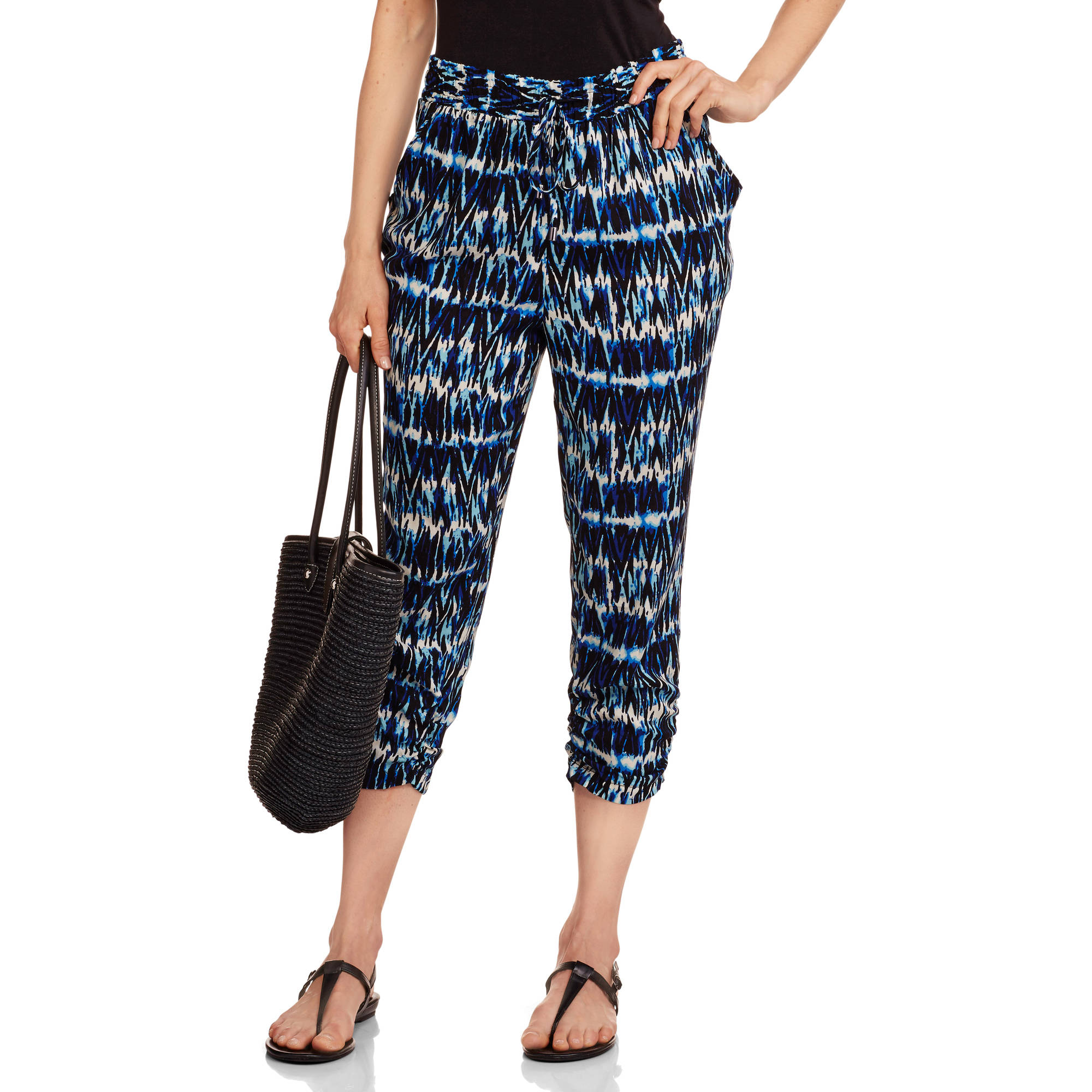 French Laundry Women's Woven Jogger Capris