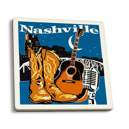 Nashville, Tennessee - Woodblock - Lantern Press Artwork (Set of 4 Ceramic Coasters - Cork-backed, Absorbent) Ceramic 6 Coaster