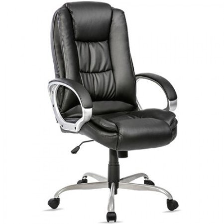 Merax Ergonomic PU Leather High Back Executive Office Chair Big & Tall Commercial Chair Thick Padded Computer Desk Chair with Padded Arms
