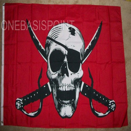 Crimson Pirate Flag Skull and Swords LARGE 4 x 6 Foot Mutiny Outdoor 4x6 Ft New, Home and Holiday Flags By Home and Holiday Flags,USA](Pirate Flag For Sale)