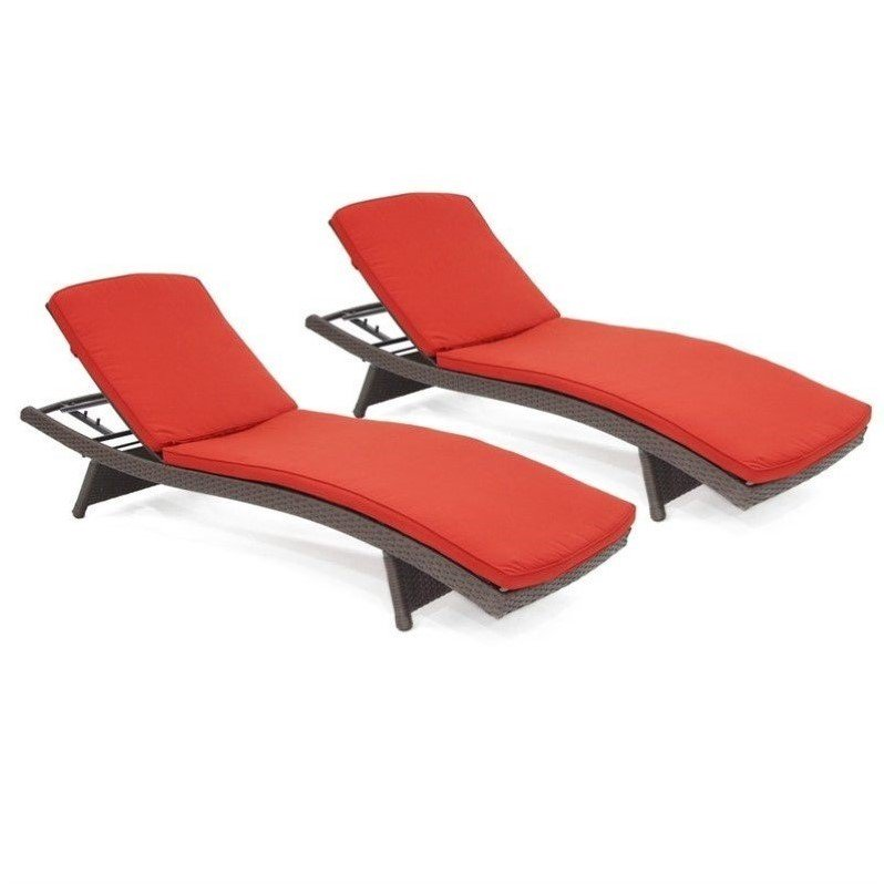 Jeco Wicker Adjustable Chaise Lounger in Espresso with Tan Cushion (Set of 2)