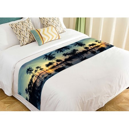 GCKG Seascape Bed Runner, Beautiful Sunset on Tropical Beach with Palm Tree Bed Runners Scarves Bed Decoration 20x95 inch ()