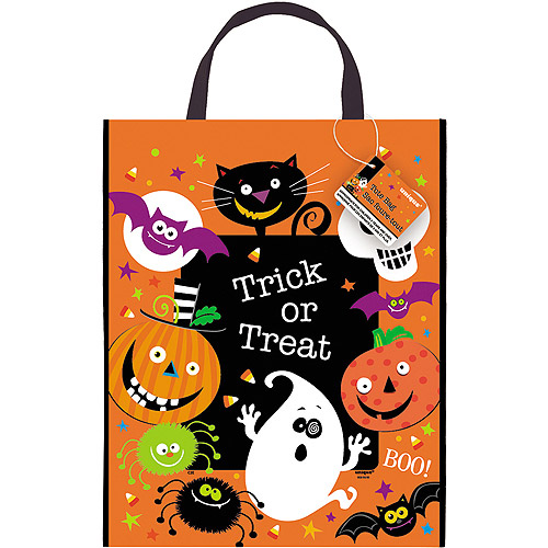 "Large Plastic Spooky Smiles Halloween Trick-or-Treat Bag, 15"" x 12"""