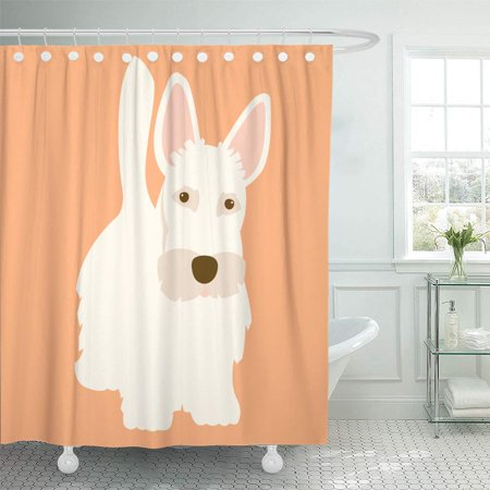 ATABIE Scottie Scottish Terrier Dog Adult Flat Aberdeen Adorable Alone Shower Curtain 66x72 inch