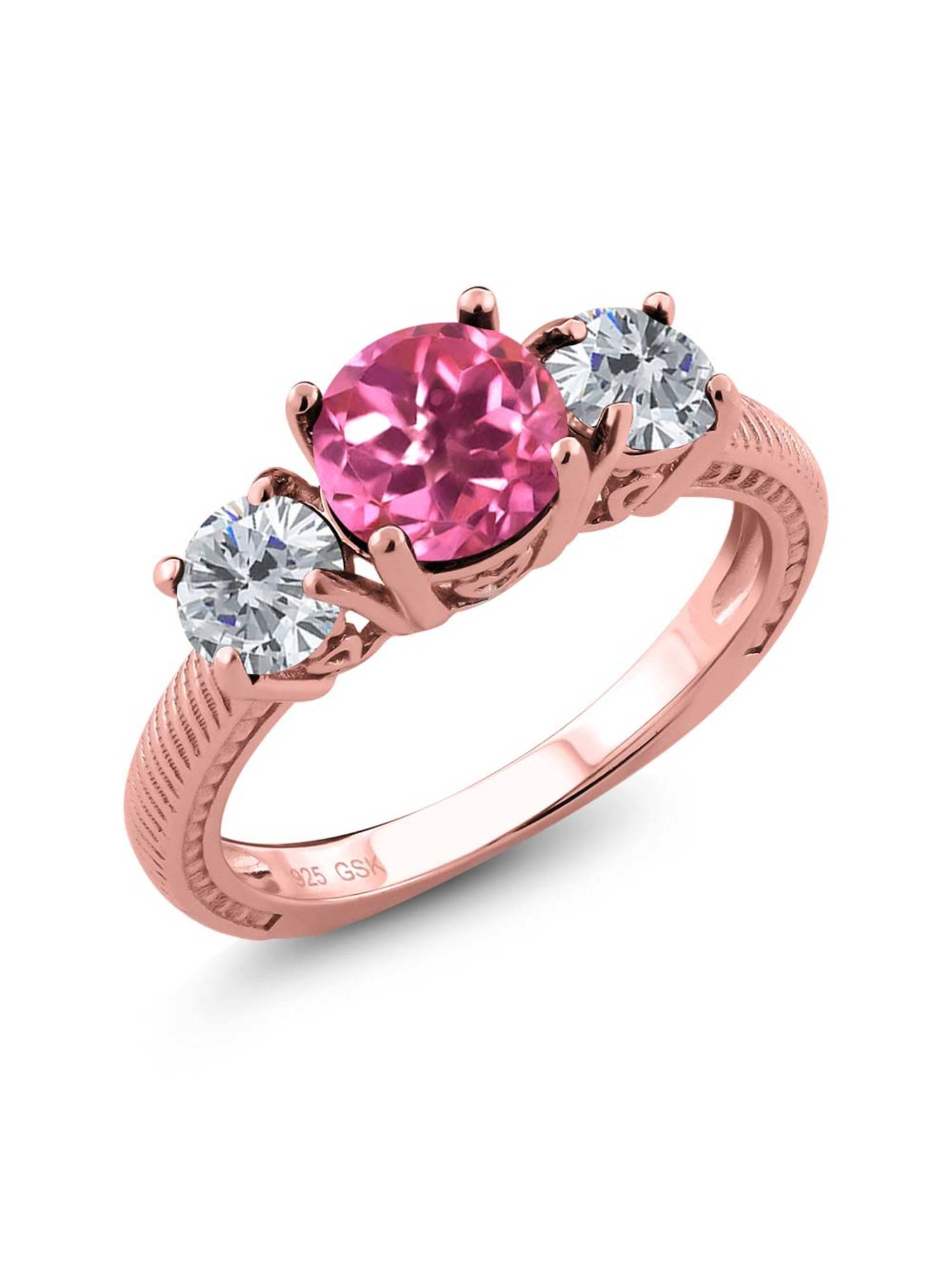 2.30 Ct Round Pink Mystic Topaz G H Diamond 18K Rose Gold Plated Silver 3 Stone Ring by