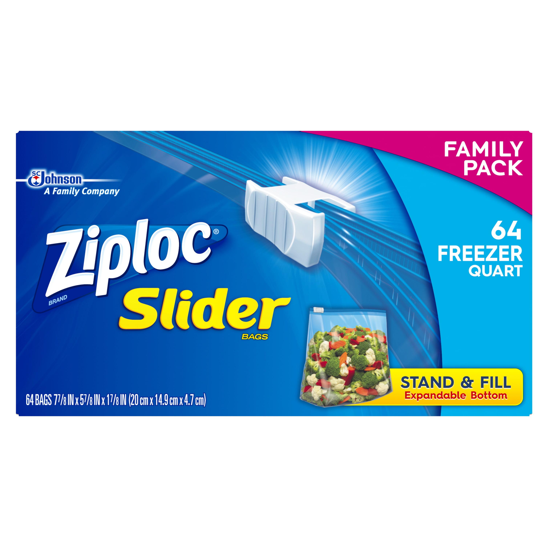 Ziploc Slider Freezer Bags, Quart, 64 Count