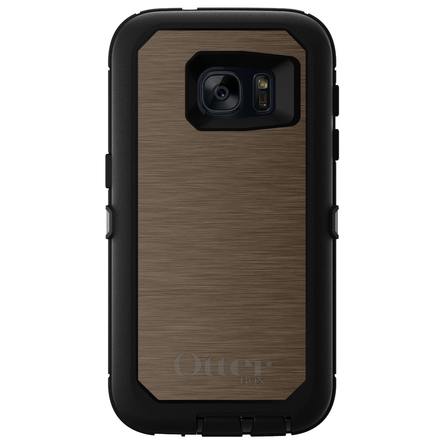 DistinctInk™ Custom Black OtterBox Defender Series Case for Samsung Galaxy S7 - Brown Stainless Steel Print