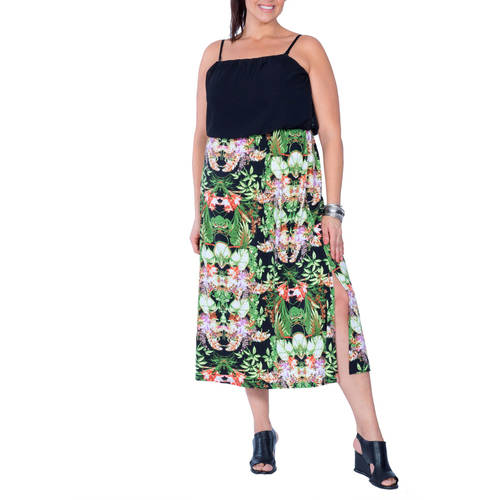 Plus Moda Women's Plus-Size Tropical Print Maxi Dress w/Removeable Straps