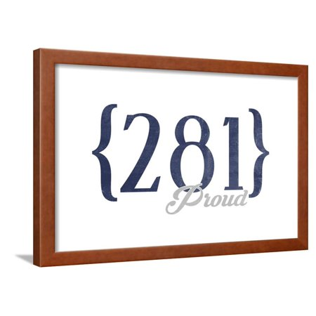 Houston, Texas - 281 Area Code (Blue) Framed Print Wall Art By Lantern Press ()