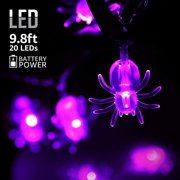 TORCHSTAR 9.8ft 20 LEDs Halloween Decorative String Lights, Outdoor String Lights, Decorative Lights with Spider Pendants