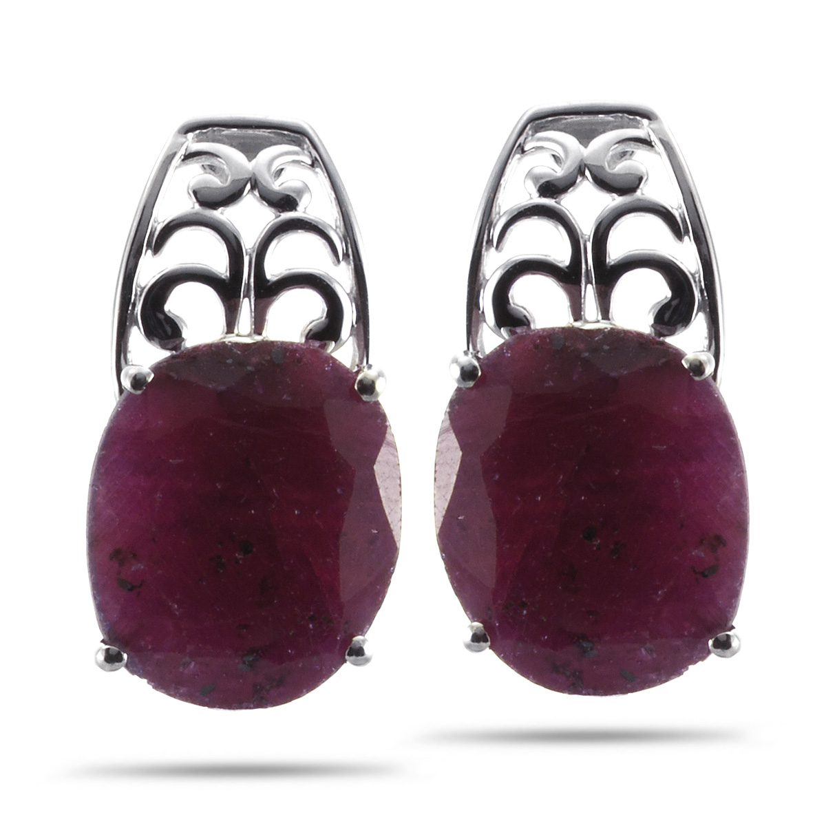 Royal Jewels Collection, Natural Faceted Opaque Ruby Sterling Silver Earrings