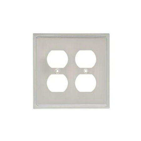 Switched Double Wall Light - Country Fair Double Duplex Wall Plate, Wall Lighting, Light Switches and Socket Plates, Nickel