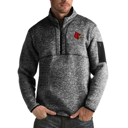 Louisville Cardinals Antigua Fortune Big & Tall Quarter-Zip Pullover Jacket - Black