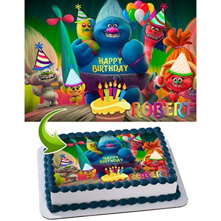 Trolls Edible Cake Topper Personalized Birthday 1 4 Sheet Decoration Custom Frosting Transfer