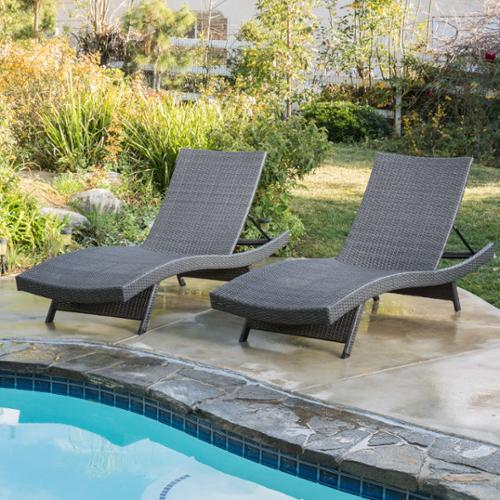 Marrin Outdoor Grey Wicker Chaise Lounge Chairs (Set of 2)