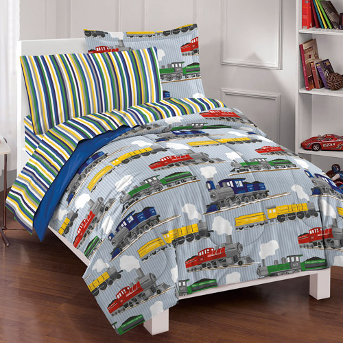 Dream Factory Trains Mini Bed in a Bag Bedding Set, Blue