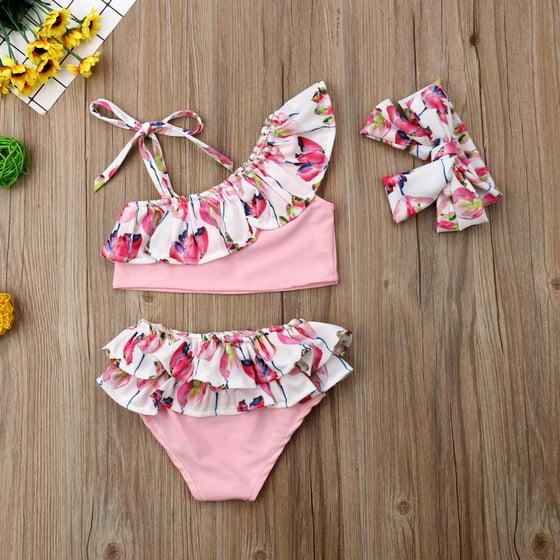 b964427c2dd76 XIAXAIXU - 3PCS Summer Kids Baby Girl Flower Bikini Set Ruffle ...
