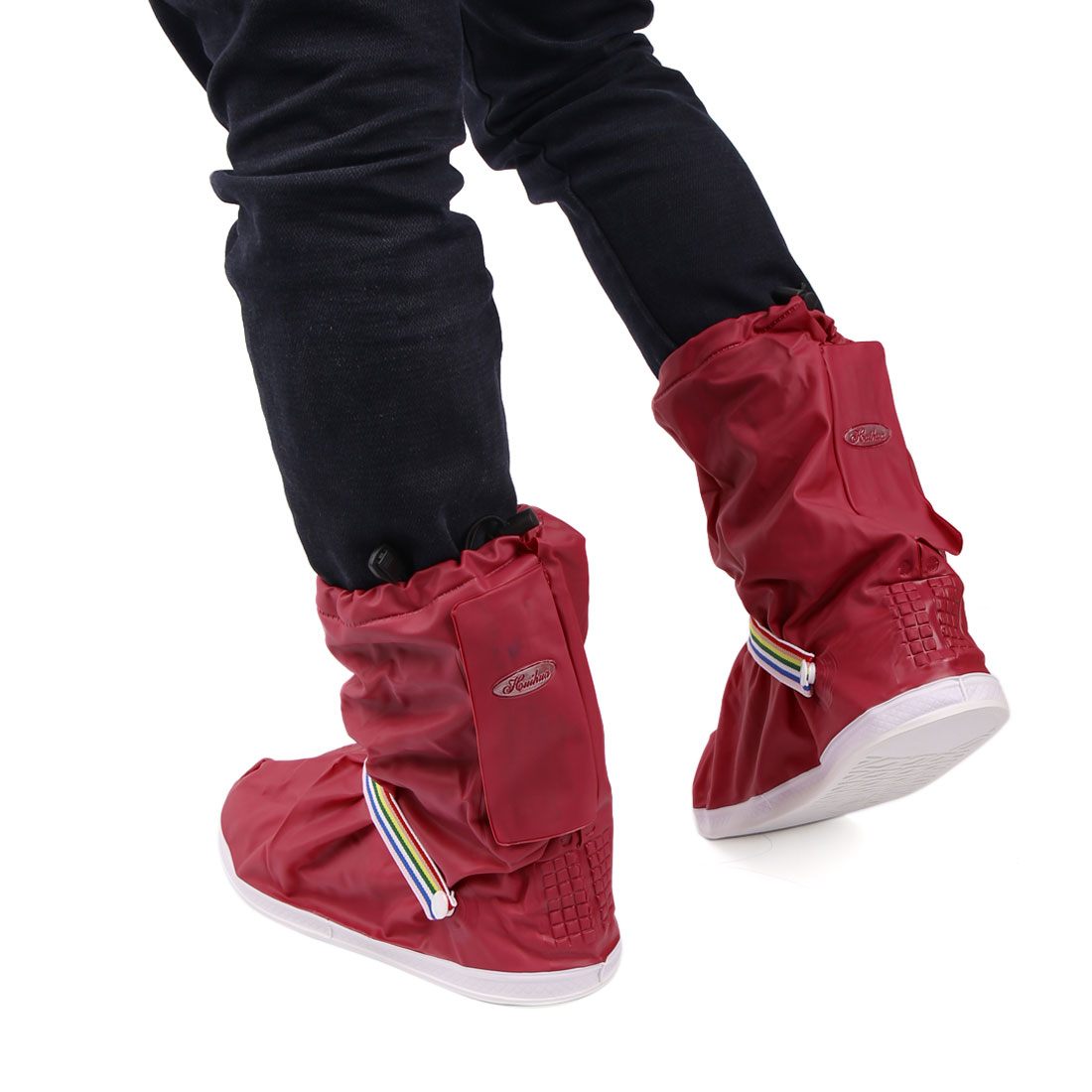 1Pair Wine Red Motorcycle Nonslip Waterproof Adjustable Rain Shoes Boot Cover XL - image 3 de 5
