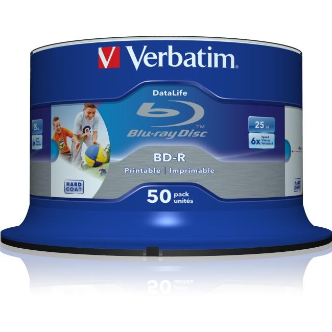 Verbatim BD-R Blu-ray 25GB 6x Spindle, 50pk, Silver