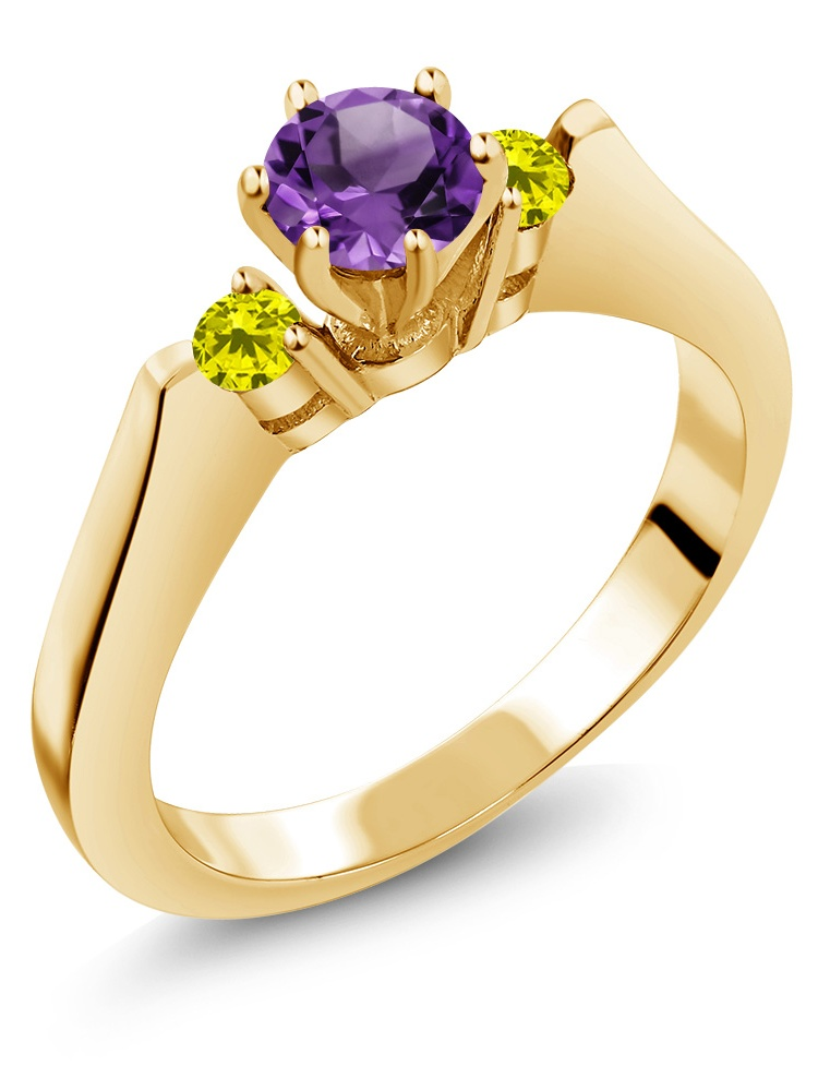 0.58 Ct Purple Amethyst Canary Diamond 925 Yellow Gold Plated Silver 3-Stone Ring by