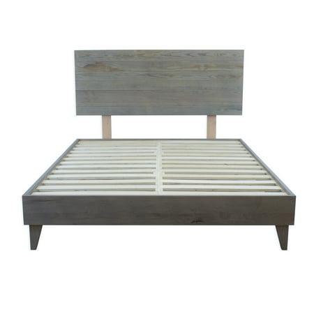 Regency Rustic Barnwood Platform Bed Frame & Headboard Combo
