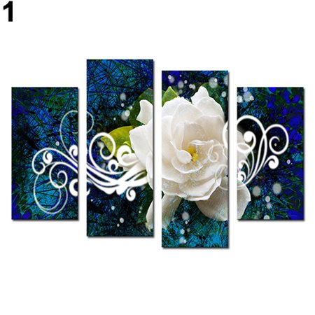 4Pcs Modern Seaside Floral Oil Painting Pictures Living Room Wall Art Home Decor
