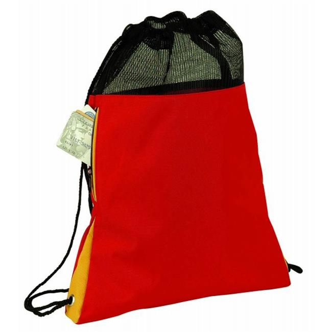 Bulk Buys Poly Drawstring With Drawstring Closure- Red - Case of 48