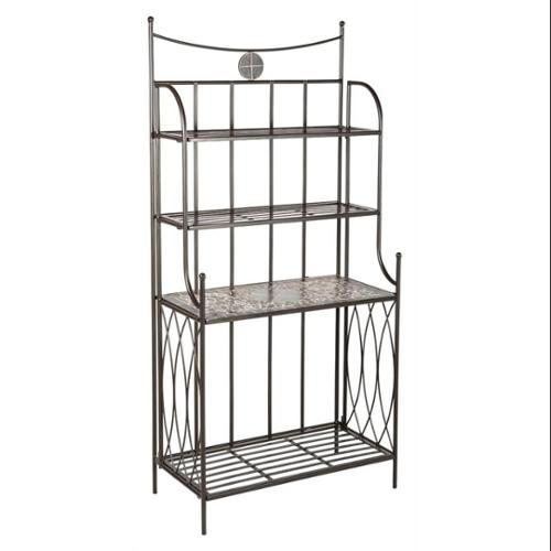 Vulcano Ceramic Mosaic Outdoor Bakers Rack with Tile Shelf