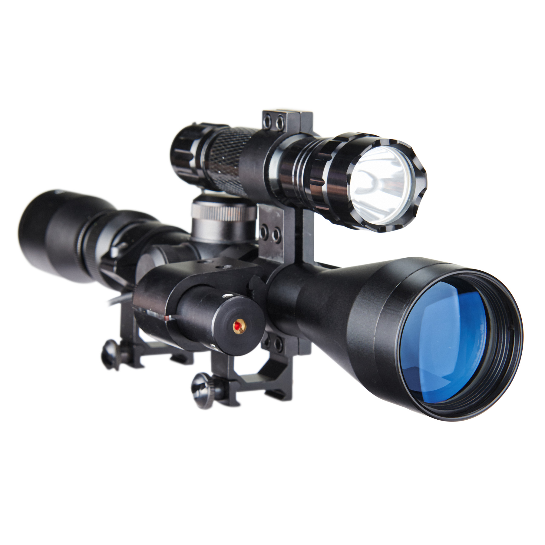 Pinty Tactical 3-9x40 Crosshair Reticle Optics Sniper Hunting  Rifle Scope w/ Red Laser & Torch