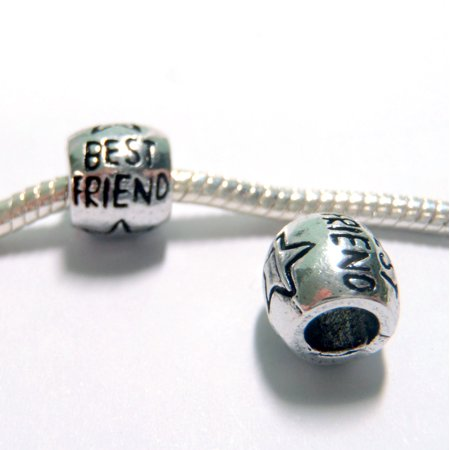 3 Beads - Best Friend Barrel Star Silver European Charm Bead (Be A Best Friend)