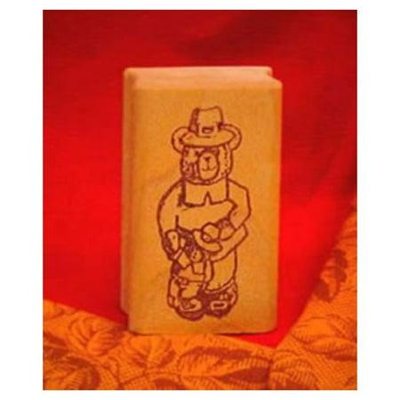 Boy Bear Pilgrim Art Rubber Stamp - Pilgrim Crafts