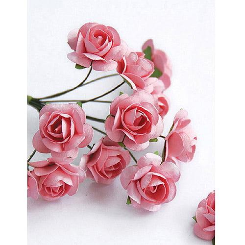 Zva Creative 129007 Mini Rose Bulk Paper Flowers . 5 inch - 12mm - 144 Stems-Pink