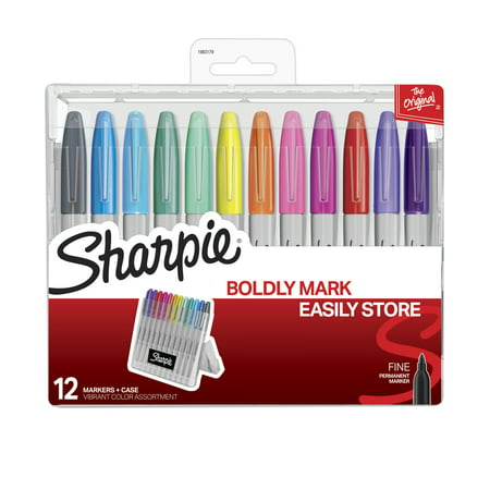 Sharpie Permanent Markers with Storage Case, Fine Point, Vibrant Colors, 12 Count