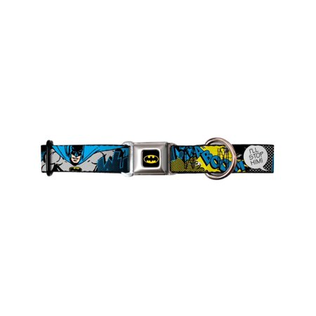 batman dc comics superhero retro time for action seatbelt fun pet dog cat collar