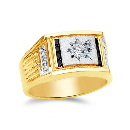 14k Yellow Gold CZ Cubic Zirconia Men's Ring , Size 9