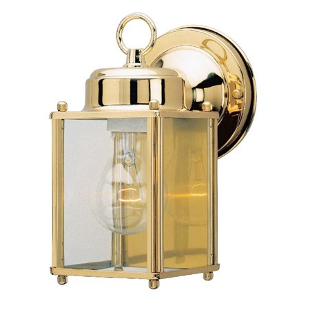 Westinghouse 6693600 One-Light Exterior Wall Lantern, Polished Brass Finish on Steel with Clear Glass Panels
