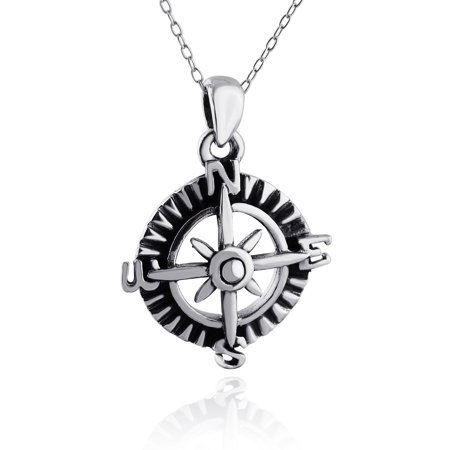 Sterling silver compass pendant necklace 18 walmart sterling silver compass pendant necklace 18 aloadofball Image collections