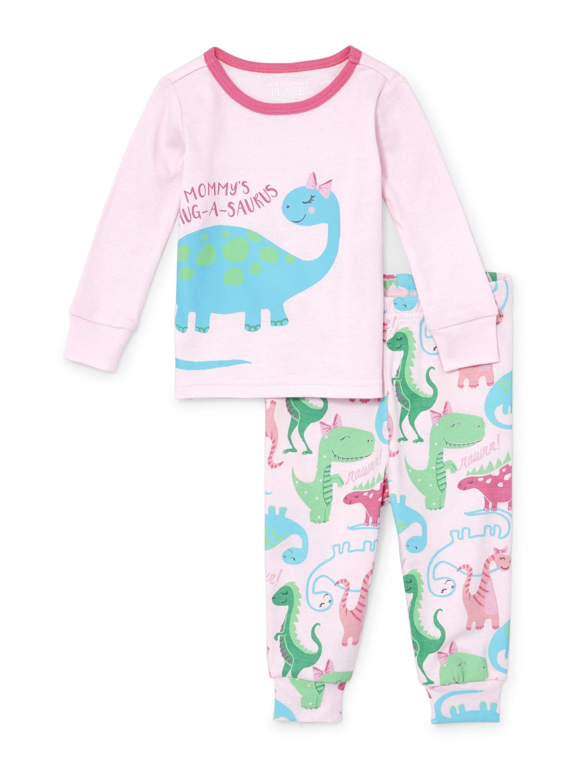 Long Sleeve Dino Print Snug-Fit PJ Set (Baby Girls & Toddler Girls)