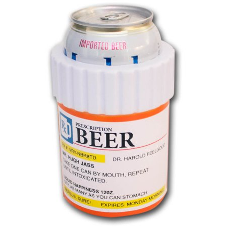 Prescription beer bottle novelty can cooler koozie for Prescription bottle holder