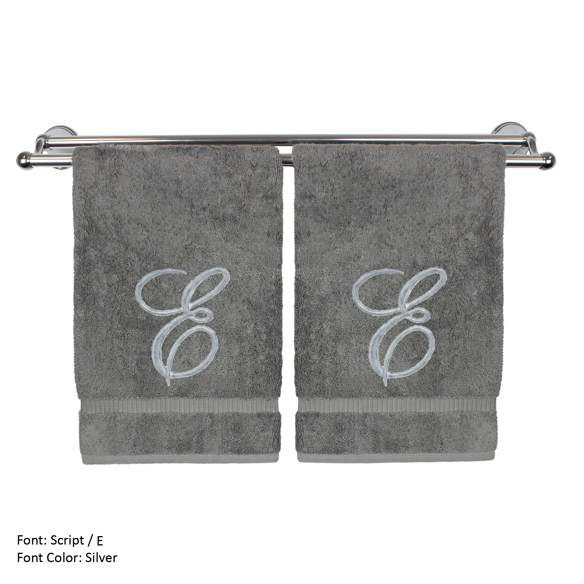 Monogrammed Washcloth Towel, Personalized Gift, 13x13 Inches - Set of 2 - Silver Script Embroidered Towel - Extra Absorbent 100% Turkish Cotton - Soft Terry Finish - Initial E Gray