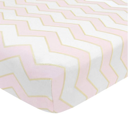 Lambs & Ivy Baby Love Pink/White/Gold 100% Cotton Chevron Fitted Crib Sheet Bedtime Originals By Lambs & Ivy Sheets