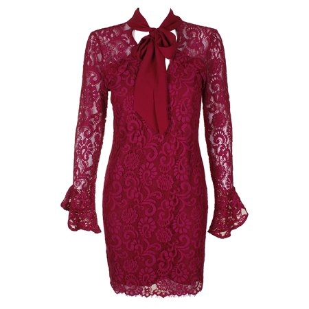 Adelyn Rae Red Wine Lace Tie Neck Bell Sleeve Open Back Sheath Dress (Lace Wedding Dress With Sleeves And Open Back)