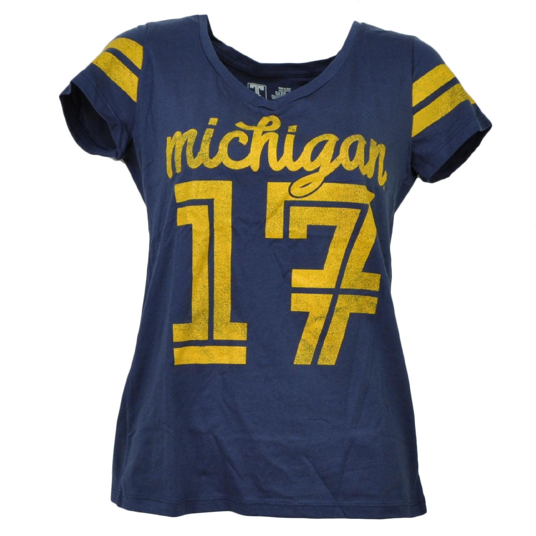 NCAA Michigan Wolverines V Neck Womens Short Sleeve Navy Blue Tshirt Tee Small